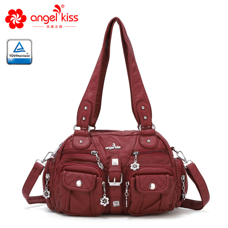Hot Selling Large Double Zipper Multi Pocket Shoulder Bags Washed PU Leather Purses Tote Bags Women Handbags for LadiesHot Selling Large Double Zipper Multi Pocket Shoulder Bags Washed PU Leather Purses Tote Bags Women Handbags for Ladies
