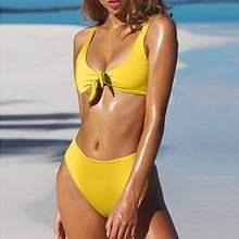 Yellow black High waist bikini front tie push up swimming suit for women vintage bandage retro swimwear thong bathing suit