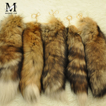 2016New Design Real Fox Fur Tail Keychain llaveros Classic Key Fur chaveiro Bag Ornaments Tag Charms porte cle Car Keyring WH108