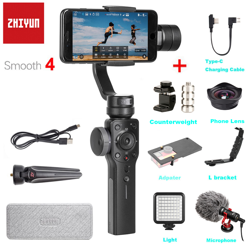 Zhiyun Smooth 4 3-Axis Handheld Gimbal Stabilizer Focus Pull & Zoom for iPhone XS XR X 8Plus 8 7 6 SE Samsung S9 Action CameraZhiyun Smooth 4 3-Axis Handheld Gimbal Stabilizer Focus Pull & Zoom for iPhone XS XR X 8Plus 8 7 6 SE Samsung S9 Action Camera