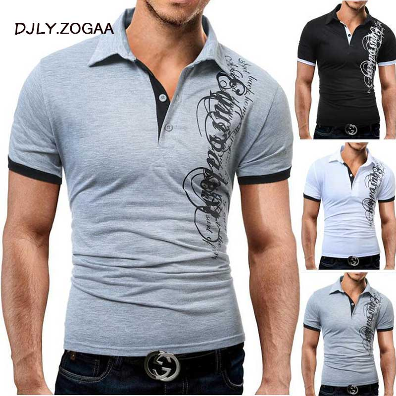 ZOGAA Men   Polo   Shirt Casual Short Sleeve Men's Letter Print Slim Fit Harajuku   Polo   Summer Male Top Tees Male   Polos