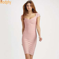 Women S Short Sleeve Bandage Lady Formal Evening Party Dresses Elastic 1 Piece Mini Skirt HL