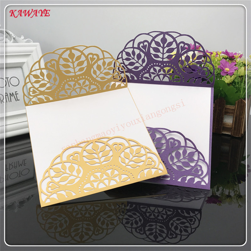 24pcs Delicate Carved Pattern Wedding Invitations New Year