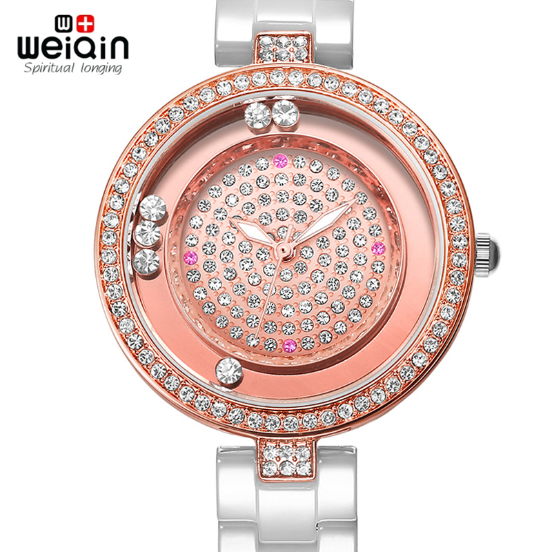 цена на WEIQIN Real Ceramic Women Watch Brand Luxury Diamond Fashion Watches Ladies Rose Gold Wrist Watch Quartz Hours Relogios Feminino