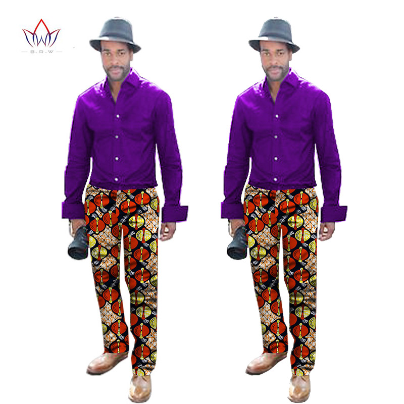 BRW New Fashions Dashiki Men Tops Set Brand Clothing 6XL Mens Shirt and Trousers Two Pieces