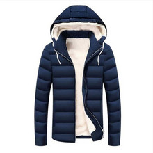 Free shipping Coats for Male 2017 New Fashion Solid Hooded Parkas Warm Fleece Jacket Male Brand Clothing