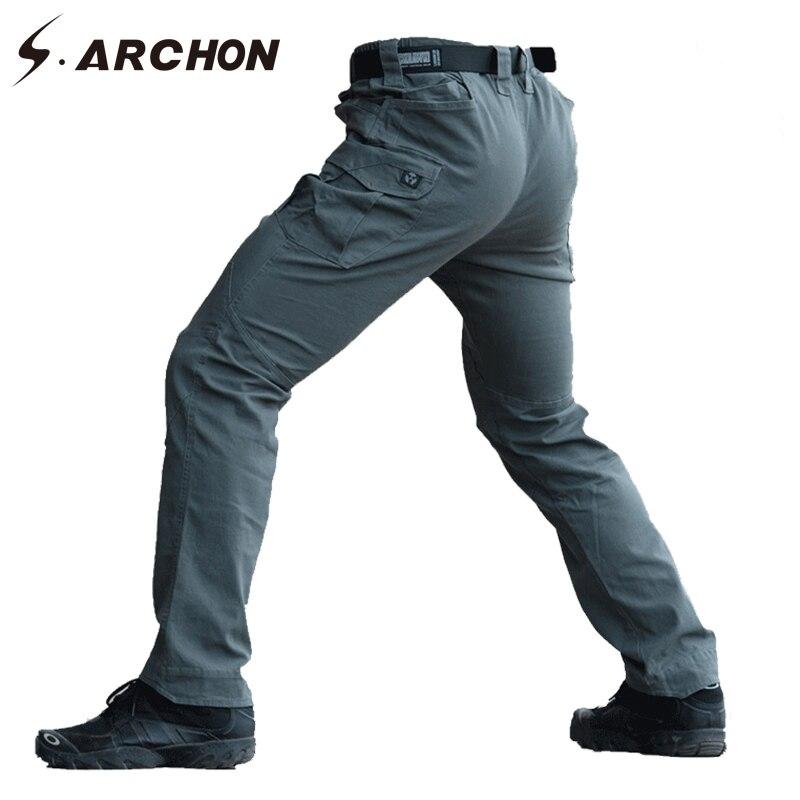 S. ARCHON Slim Fit Coton Tactique Pantalon Cargo Hommes Multi Poche Élastique Militaire Pantalon Casual Respirant SWAT Combat Armée pantalon