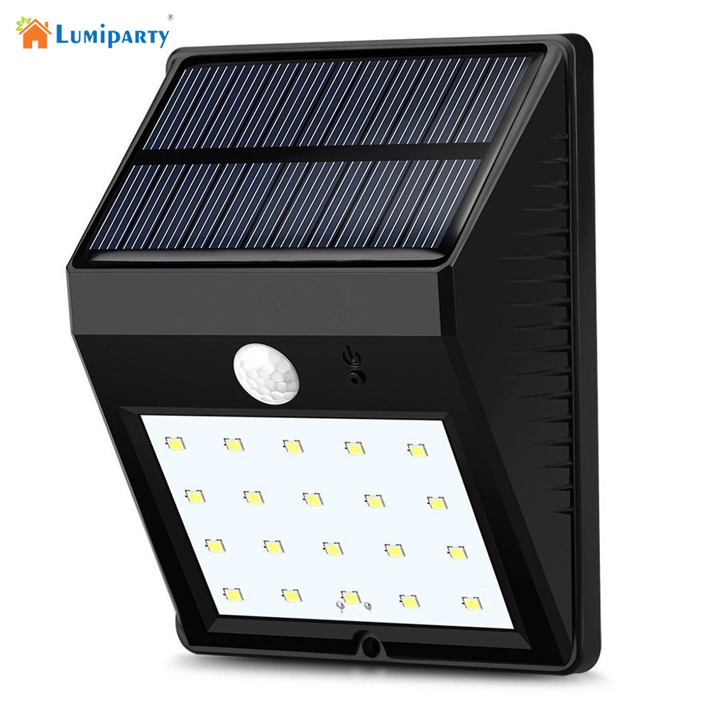 Lumiparty 20led Solar Panel Powered Motion Sensor Lamp Outdoor Light Garden Security Wall Light