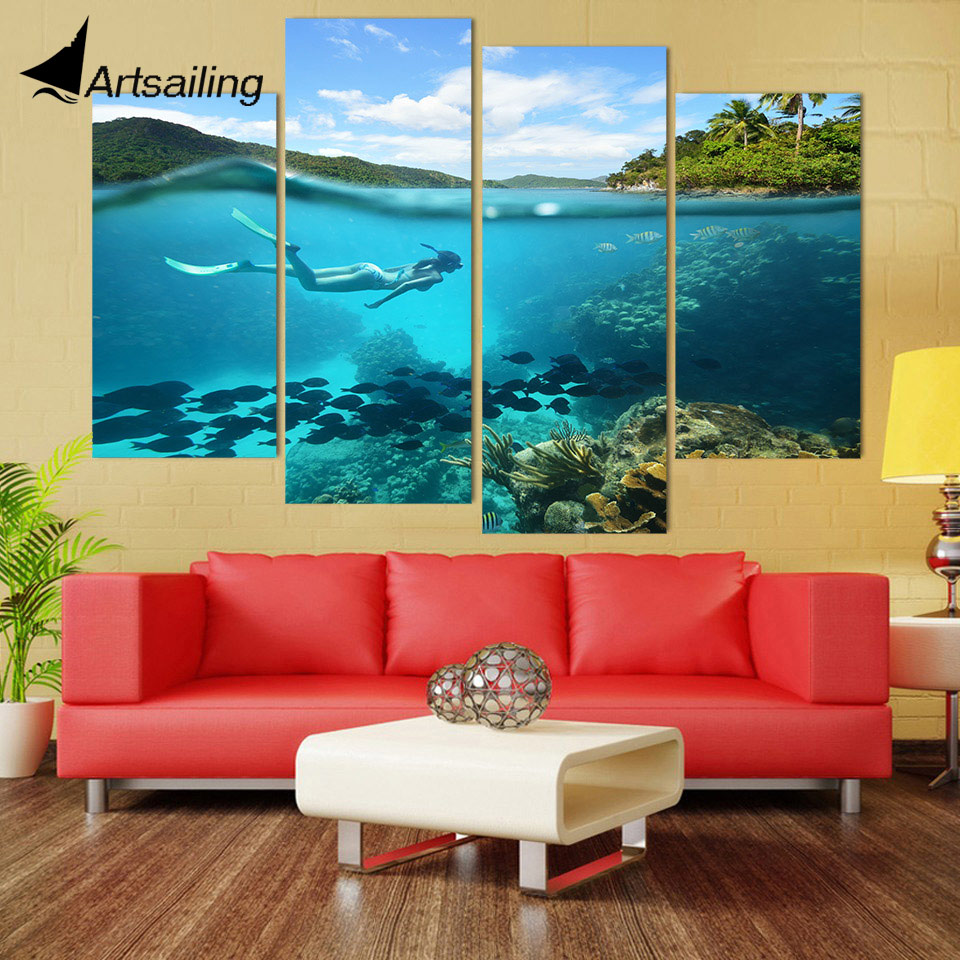 4 Piece Canvas Art Canvas Painting Tropical Diving Hd