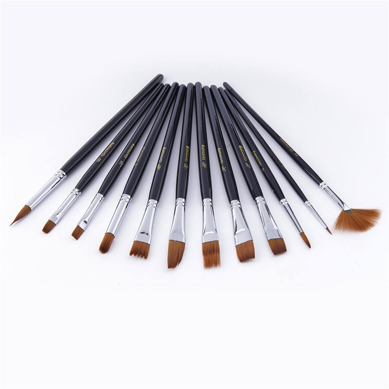 12pcs/set Nylon Hair Oil Paint Brush Acrylic Gouache Watercolor Drawing Pen Brushes for Artist Children School Supplies lambert v delta fantastic flyers teacher s book