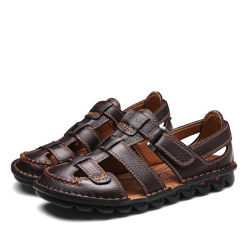 Yeni Sandalet Deri Açık Erkek Sandalet Rahat Plaj Rahat Yaz Erkekler Nefes kauçuk ayakkabı 2019 Büyük Boy 48