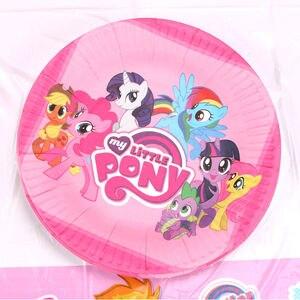 Image 2 - Опциональное украшение для Маленького Пони, сувениры для вечерние Ринок, тарелки, вилки, товары для детского дня рождения, наборы одноразовой посуды