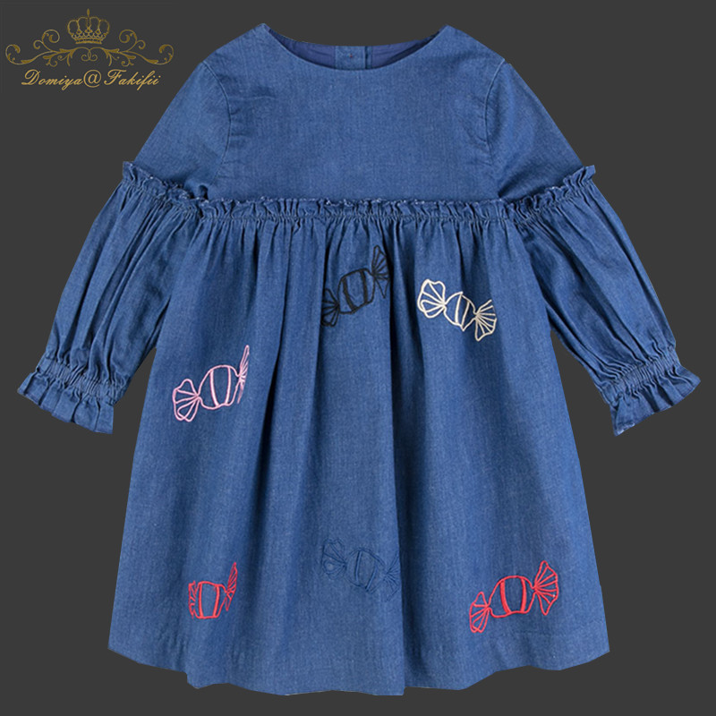 2018 Spring Baby Kids Dresses Children Girl Long Sleeve Embroidery Princess Demin Dress AutumnBaby Girls Clothes Dress For Girl red blue kids dresses for girls long sleeve princess dress girls clothes flower bow decortion baby infant girl dress cheep price