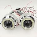 2.5 ''HID Bi-xenon Último Faros Lente Del Proyector Con Doble LED Dual Angel Eyes Halo square H4 H7 adaptador H1 bulbCar Styling