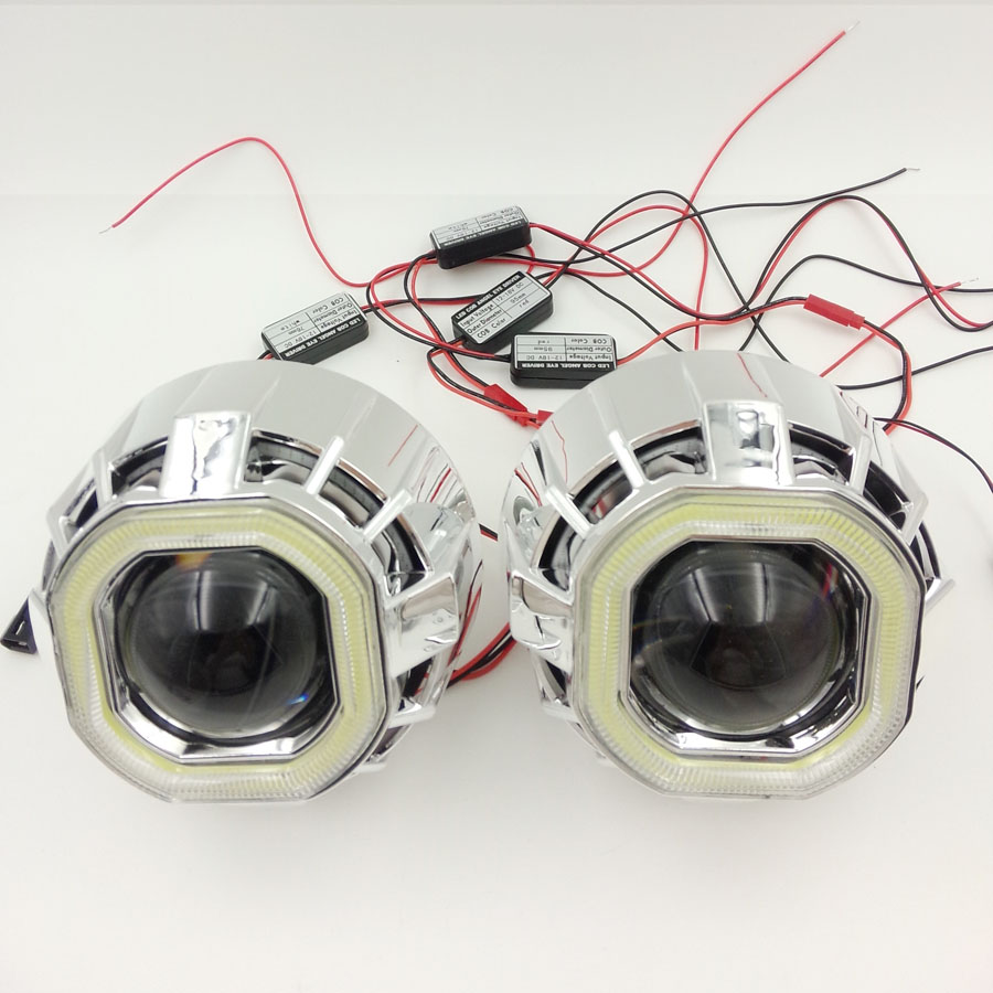 ФОТО 2.5''HID Bi-xenon Ultimate Lens Headlight Projector With LED Double Dual Angel Eyes Halo square H4 H7 adapter H1 bulbCar Styling