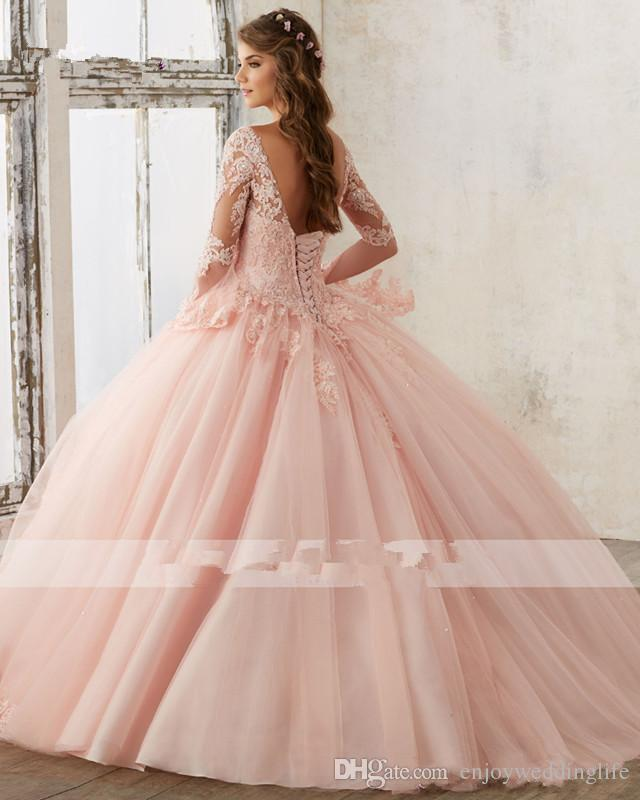 93b2359c8d5 YSFS Long Sleeve Baby Pink Ball Gown Quinceanera Dresses V Neck Lace  Appliques Sweet 16 Prom Gowns Vestidos De Quinceanera-in Quinceanera Dresses  from ...