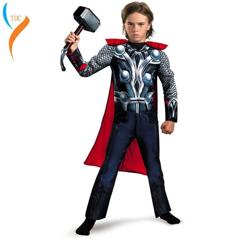 Hero Kids Muscle Thor Cosplay Costumes Clothes With Harmmer Avengers Child  Halloween Costumes Children's Day