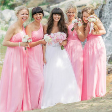 2016 Summer One-shoulder Bridesmaid Dress Pink Floor length Chiffon Vestido Pleated Party Dresses for wedding