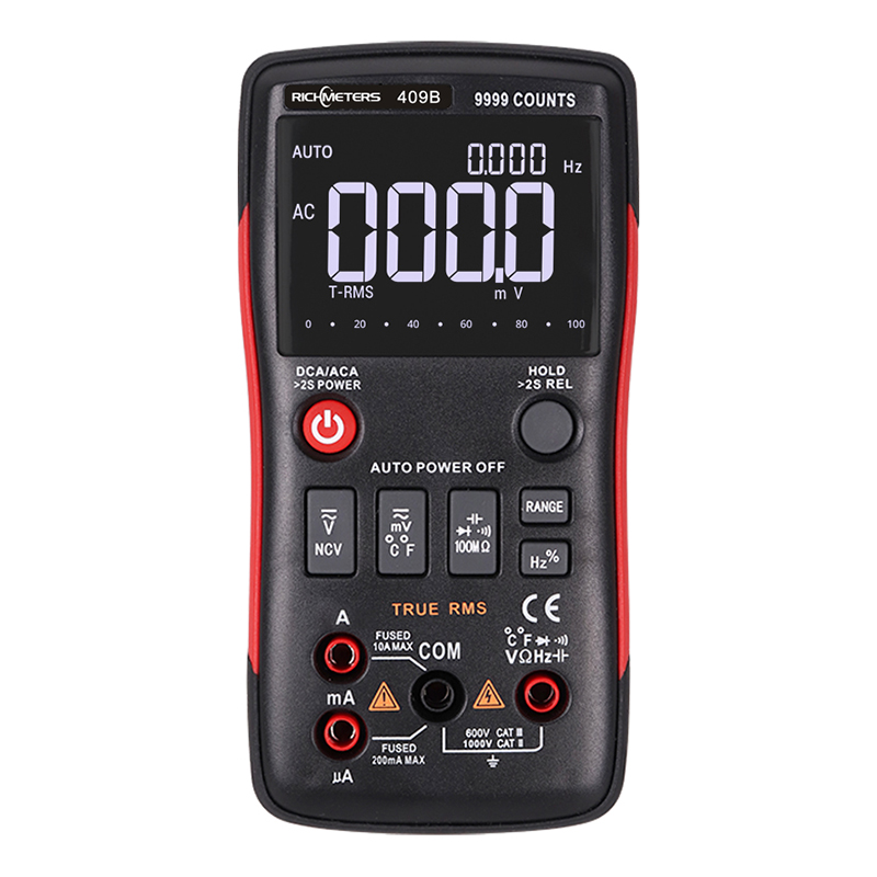 RM409B/RM408B True-RMS Digital Multimeter Button 9999/8000 Counts With Analog Bar Graph AC/DC Voltage Ammeter Current Ohm Auto