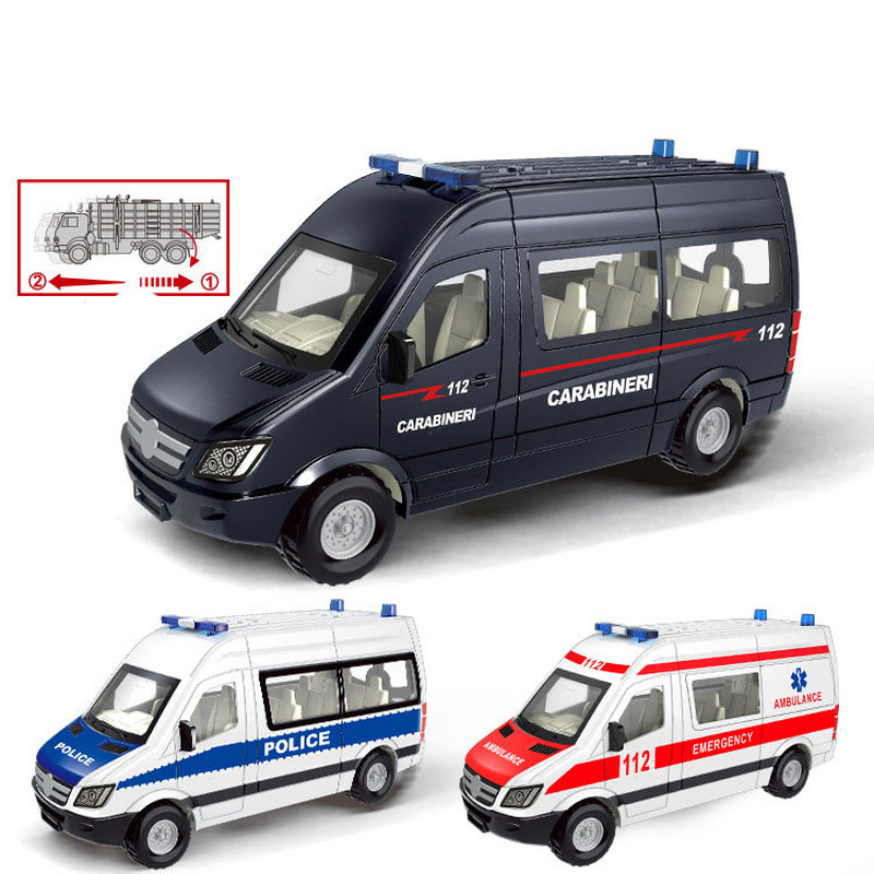 1:64 Alloy Pull Back Toy Car Model Emergency Ambulance Rescue Car Model Educational Diecasts & Toy Vehicles Toys For Children