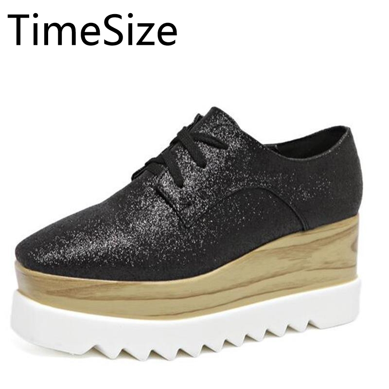 Time Size 2017 Women Platform Shoes Oxfords Brogue High Heels Lace Up Wedges Shoes Creepers Vintage Light Soles Casual Shoes bling patent leather oxfords 2017 wedges gold silver platform shoes woman casual creepers pink high heels high quality hds59