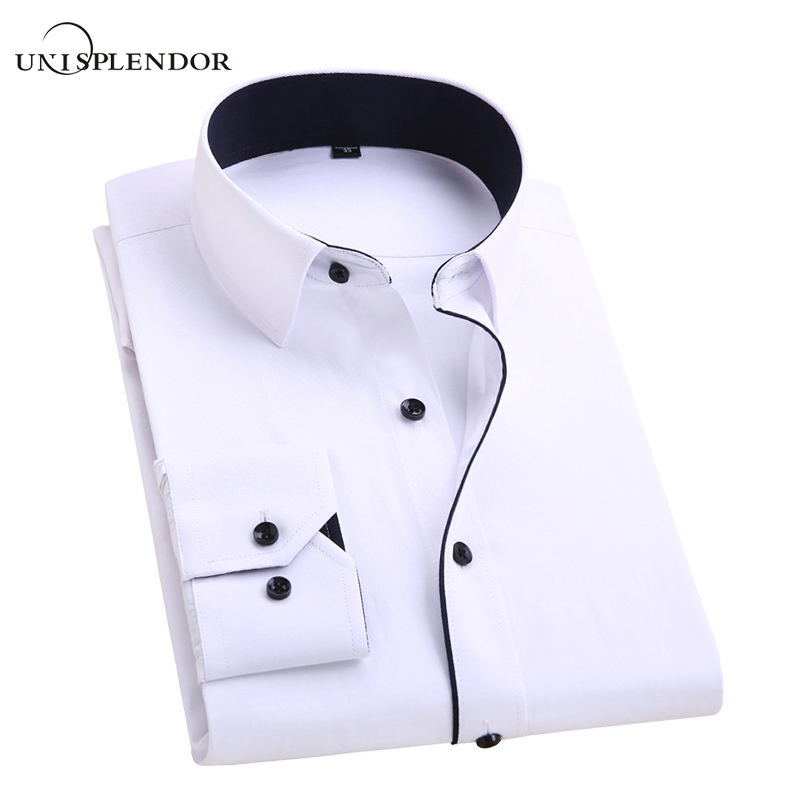 2017 Men's Wedding Shirt Long Sleeve Men Dress Shirt Business Solid Color Casual Shirts Work Wear Formal Slim Shirt Man YN554