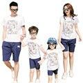 Новый повседневная Лето семьи мать и дочь отец сына устанавливает Семья Соответствующие Наряды хлопка майка + шорты Брюки