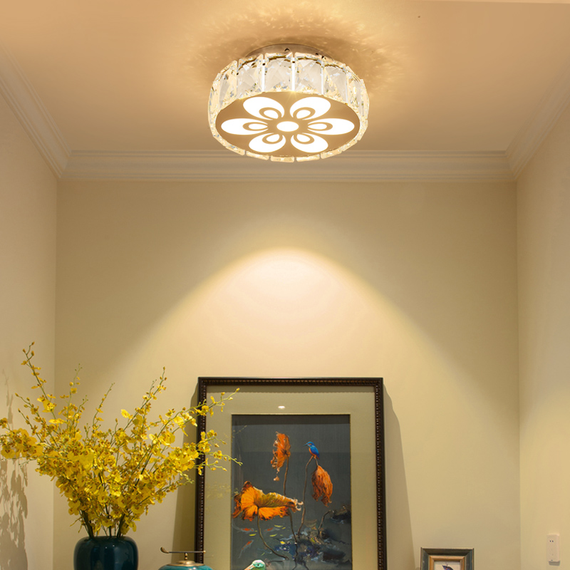 contemporary Ceiling led Lights Simple Modern Entrance Porch Balcony Round Crystal Lamp home Led Ceiling Lamps Corridor Lampe