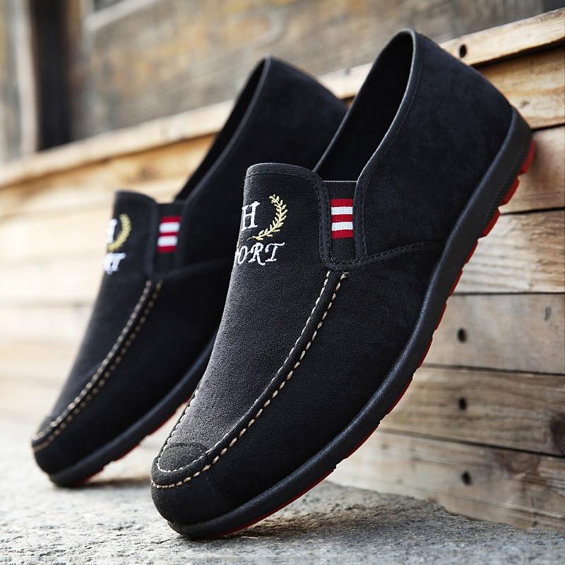 Chaussures Printemps on Mâle Hommes Mode Noir Respirant Toile Pour Mocassins Mexemina Casual 2018 bleu Slip TFq0t0