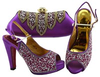 Beautiful purple women pumps match handbag set with rhinestone african shoes and bag for party dress FGT002