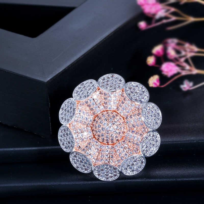 CWWZircons 2 Tone Silver และ Rose Gold สีแอฟริกันดูไบขนาดใหญ่ CZ หมั้นงานแต่งงานแหวนนิ้วมือเครื่องประดับสำหรับผู้หญิง r122