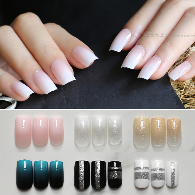 Pink Long false nails nude flash nails Gradient 24pcs white ...