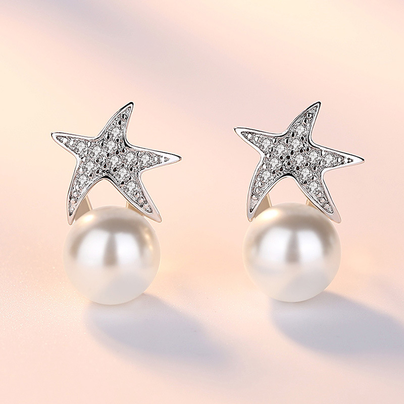 100 925 sterling silver fashion staryu imitation pearl ladies stud earrings women jewelry female gift drop shipping cheap in Stud Earrings from Jewelry Accessories