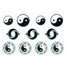 Waterproof Temporary Fake Tattoo Stickers Tachi Black White Taiji Yin Yang Design Makeup Tools