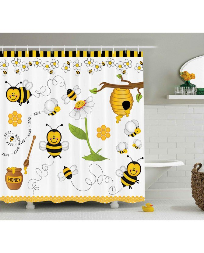 Flower Shower Curtain Bees Daisies Chamomile Print For Bathroom Waterproof  And Mildew Resistant Set Hooks(