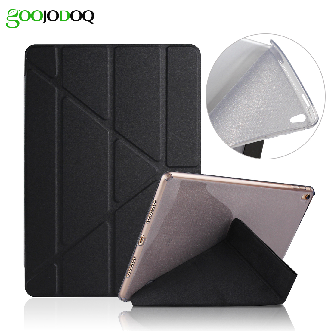 For iPad Pro 9.7 Case PU Leather with Glitter Silicone Soft Back Smart Cover for iPad Pro 9.7 Case 2016 Transformers Stand new luxury ultra slim silk tpu smart case for ipad pro 9 7 soft silicone case pu leather cover stand for ipad air 3 ipad 7 a71