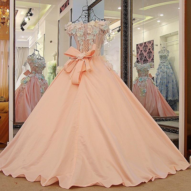 Lovely pink flowers evening dress floor length short sleeves corset ...