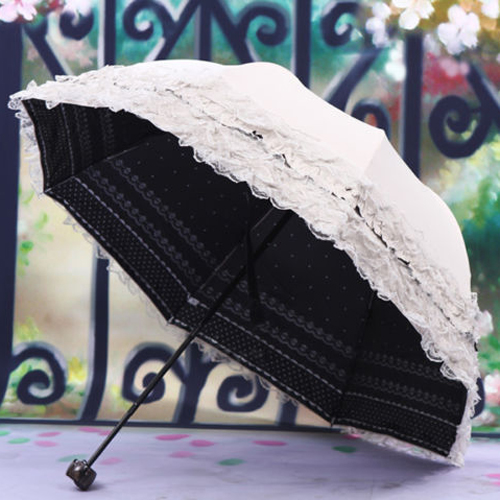 Practical Womens Princess Dome/Birdcage Sun/Rain Folding Umbrella For Wedding Lace Trim beigePractical Womens Princess Dome/Birdcage Sun/Rain Folding Umbrella For Wedding Lace Trim beige