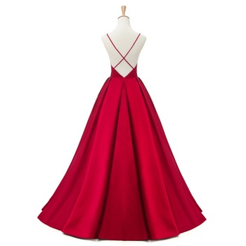 2019 Red Sexy Satin Evening Dresses Long A-line Prom Dresses V-neck Evening Party Dresses Prom Dress Open Back Robe De Soiree 2