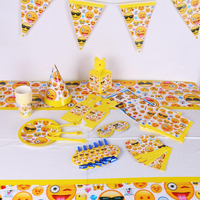 135pcs/lot Emoji Children Birthday Party Decorations Kids Party Supplies Birthday Disposable Tableware Sets Party Favors