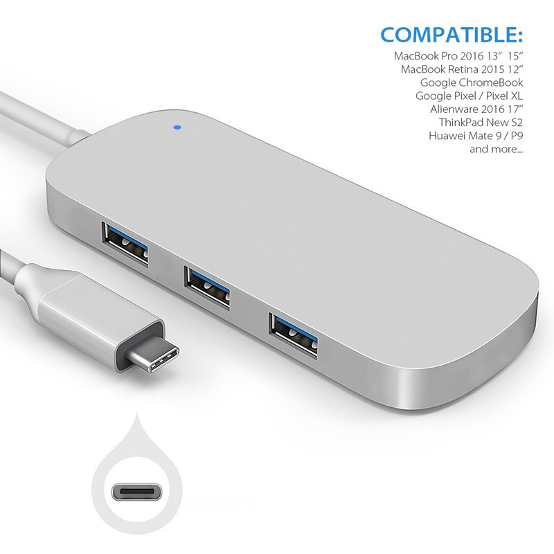Aluminum USB 3.1 Type C to 3 port USB 3.0 High Speed USB Hub With TF SD card reader support up to 5Gbps transation For Macbook 668 usb 3 1 type c card reader