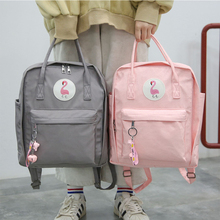 Preppy Waterproof Nylon Women Backpack Fashion Flamingo Fema