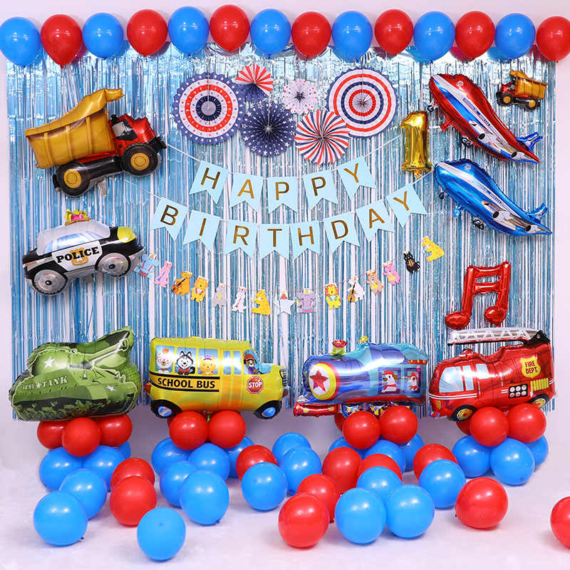 Cartoon DIY Birthday Standing Column Car Balloons Foil Balloon Train Planes Fire Truck Cars Children Gifts Party Decorations Toy