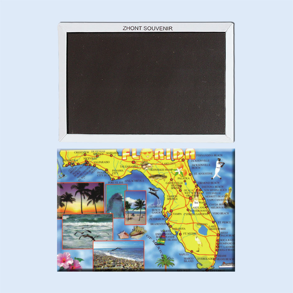 نقشه فلوریدا ایالتی در جنوب شرقی ایالات متحده آمریکا 22280 ، سوغاتی جهانگردی ؛ هدیه آهنربای یخچال برای دوستان