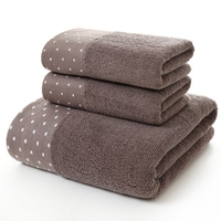 3PCS Set 100 Cotton Luxury Adult Hotel Towel Set One Piece 70 140cm Bath Towel Two