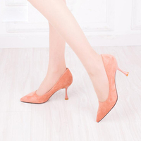 2018 Genuine Leather Classics Women's Shallow Office Shoes New Concise Solid Flock Pointed Toe Women Pumps Fashion Black Pink