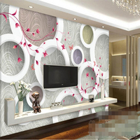 Custom Photo Wallpaper 3D Wall Fresco Modern Fashion Elegant Circle Pattern 3D Stereo TV Background Wall