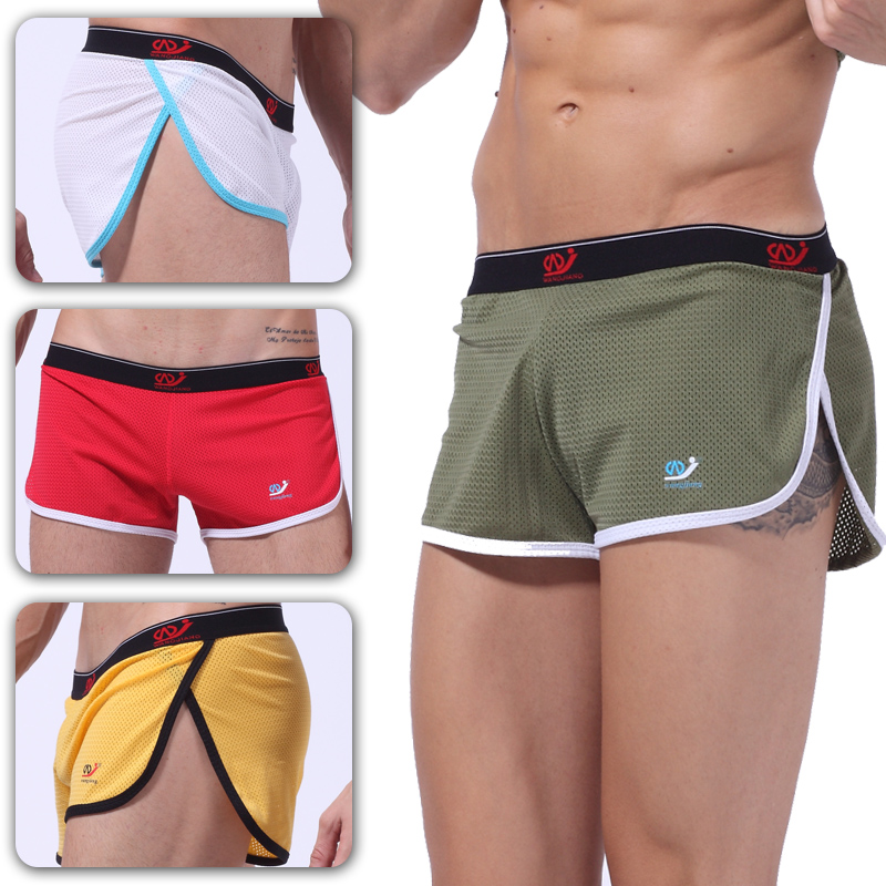 Sexy Men Mesh Underwear Boxer Shorts Mens Trunks Breathable Quick Dry Summer Underpants Side Slit Design Home Sleepwear Boxers