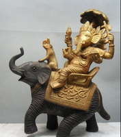 006205 9 Tibetan Bronze Gilt India Ganesh Lord Ganesha Buddha on Elephant Statue