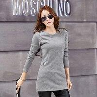 Camiseta Mujer Pockets Fashion Cotton T Shirt Women 2018 Winter Long Sleeve Tshirt Women Korean Womens